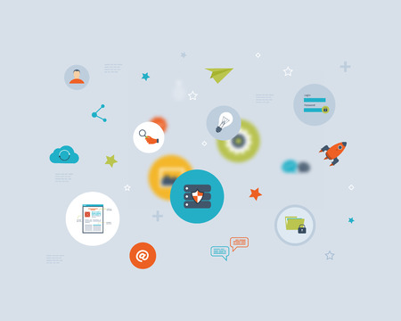 web security: Flat design modern vector illustration icons set of website SEO optimization, social network security, data protection and web analytics elements.