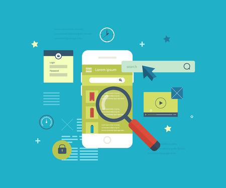 Flat vector collectie van moderne mobiele telefoons met verschillende elementen van de gebruikersinterface. Mobiele applicatie om te zoeken naar vastgoed.
