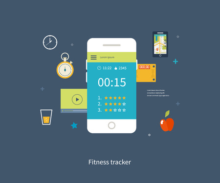 physical: Vector mobile phone - fitness app concept on touchscreen. Modern flat vector icons of healthy lifestyle, fitness and physical activity. Healthy lifestyle concept