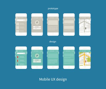 Flat vector collection of modern mobile phones with different user interface elements. Steps for creating mobile applications: prototype and design