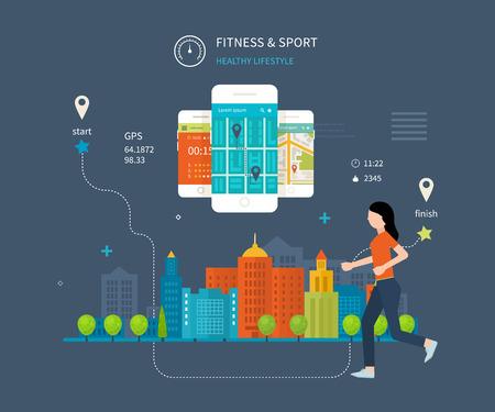 Vector mobiele telefoon - fitness app concept op touchscreen. Moderne flat vector iconen van een gezonde levensstijl, fitness en fysieke activiteit. Gezonde levensstijl concept. Stock Illustratie