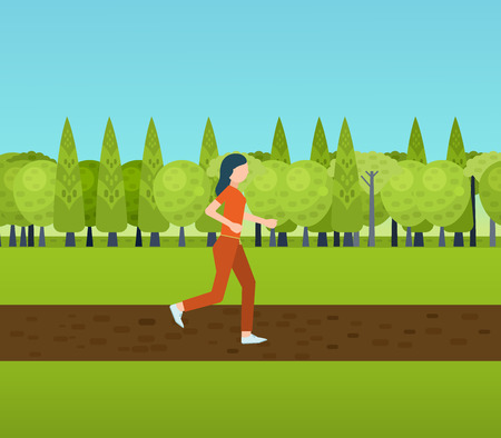Sport woman run fitness girl jogging. Modern flat vector icons of healthy lifestyle, fitness and physical activity.