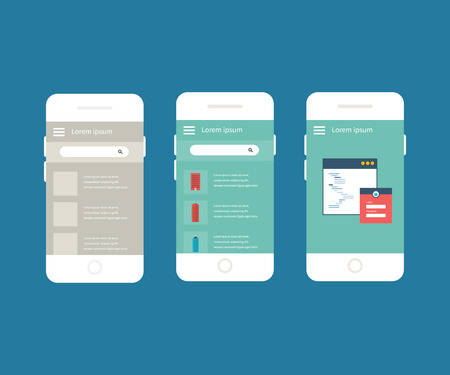 prototype: Flat vector collection of modern mobile phones with different user interface elements. Steps for creating mobile applications: prototype and design