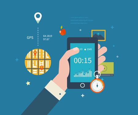 salud y deporte: Tel�fono m�vil del vector - la aptitud aplicaci�n de conceptos sobre la pantalla t�ctil. Vector de recogida plana de los tel�fonos m�viles modernos con diferentes elementos de la interfaz de usuario.