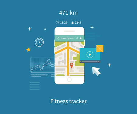 interface elements: Vector mobile phone - fitness app concept on touchscreen. Flat vector collection of modern mobile phones with different user interface elements. Illustration