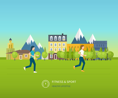 physical activity: Sport woman run fitness girl jogging. Modern flat vector icons of healthy lifestyle, fitness and physical activity. Healthy lifestyle concept. Illustration