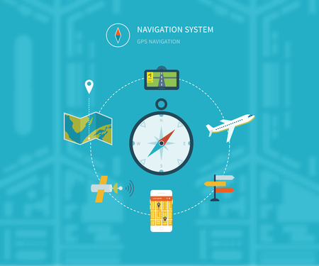 finding: Navigation flat icons set with service search gps. System finding location. Vector illustration concept of  holding smart-phone with mobile navigation.