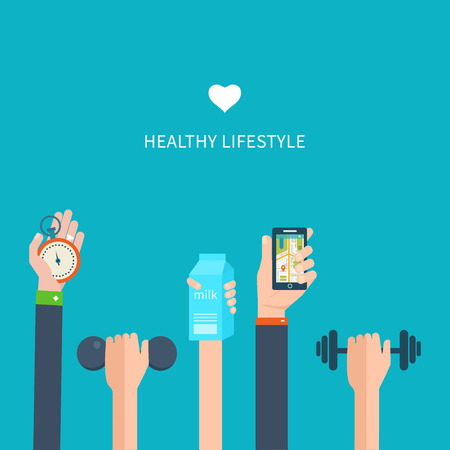 regime: Modern flat vector icons of healthy lifestyle, fitness and physical activity. Diet, exercising in the gym, training equipment and mobile application
