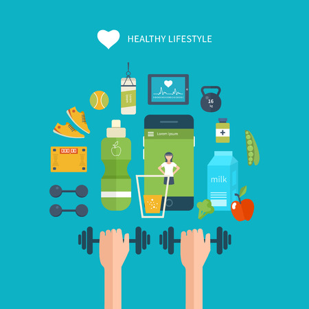physical activity: Modern flat vector icons of healthy lifestyle, fitness and physical activity. Diet, exercising in the gym, training equipment and clothing. Wellness icons for website and mobile application