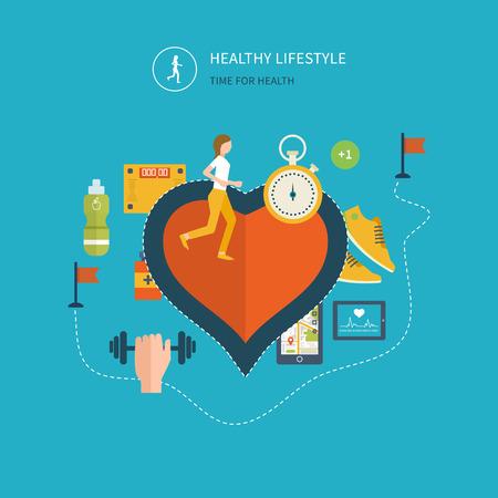 Moderne flat vector iconen van een gezonde levensstijl, fitness en fysieke activiteit. Gezonde levensstijl concept. Vector mobiele telefoon - fitness app concept op touchscreen. Stockfoto - 43058203