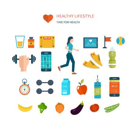 Moderne flat vector iconen van een gezonde levensstijl, fitness en fysieke activiteit. Dieet, oefenen in de sportschool, training uitrusting en kleding. Wellness pictogrammen voor website en mobiele applicatie