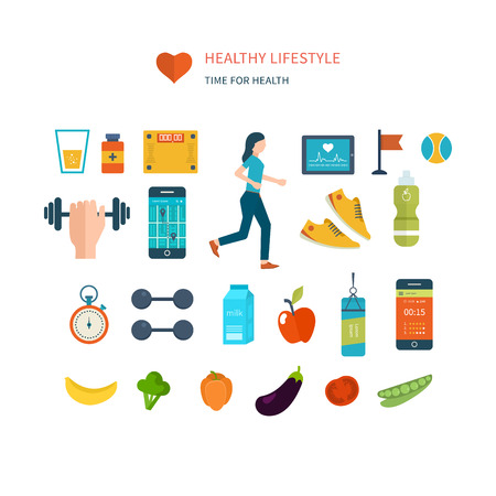 Modern flat vector icons of healthy lifestyle, fitness and physical activity. Diet, exercising in the gym, training equipment and clothing. Wellness icons for website and mobile application