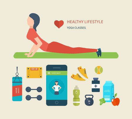 lifestyle: Modern flat vector icons of healthy lifestyle, fitness and physical activity. Diet, exercising in the gym, training equipment and clothing. Concept of healthy lifestyle.  Young woman practices yoga.