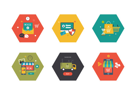 commerce communication: Online shopping concept. Flat design modern vector illustration icons set of mobile marketing, delivery and secure online shopping. Illustration for web and mobile phone services and apps Illustration