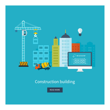 live work city: Flat design vector concept illustration with icons of building construction, city life and urban landscape. Concept vector Illustration in flat style design. Real estate concept illustration.
