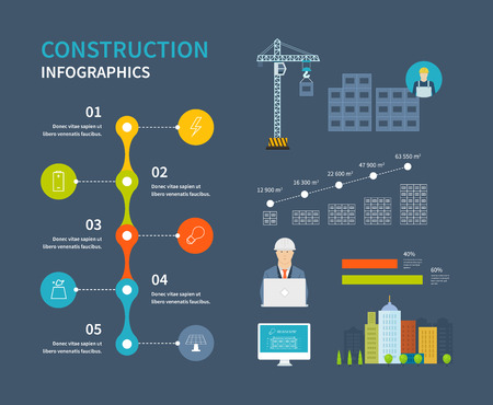 building construction: Flat design vector concept illustration infographic elements with icons of building construction, urban landscape. Construction buildings illustration infographic elements flat design.