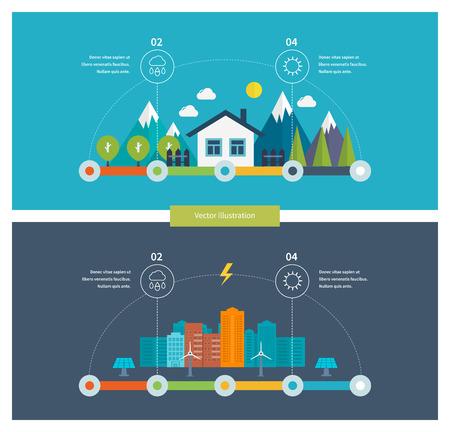 medio ambiente: Ecolog�a ilustraci�n elementos infogr�ficos dise�o plana. Paisaje de la ciudad. Casa Respetuoso del medio ambiente. Piso de dise�o vectorial Ilustraci�n del concepto con los iconos de la ecolog�a, el medio ambiente y la tecnolog�a verde.