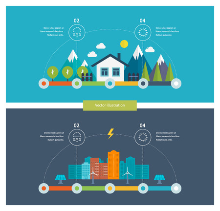 Ecology illustration infographic elements flat design. City landscape. Environmentally friendly house. Flat design vector concept illustration with icons of ecology, environment and green technology.
