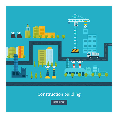 industrial construction: Flat design vector concept illustration with icons of building construction, urban landscape and industrial factory buildings. Horizontal banners.