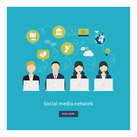 media network: Social network and teamwork concept for web and infographic. Flat style vector illustration