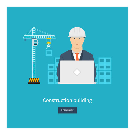 Flat design vector concept illustration with icons of building construction, city life and urban landscape. Concept vector Illustration in flat style design. Real estate concept illustration.