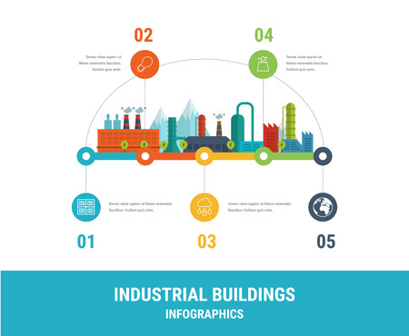 工場建物図タイムライン インフォ グラフィック要素はフラット デザインです。