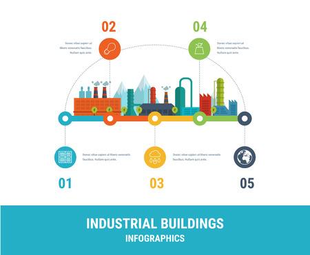 산업 공장 건물 그림 타임 라인 인포 그래픽 요소 평면 디자인.