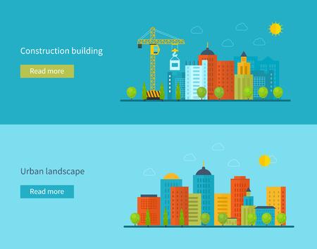estilo urbano: Piso de diseño vectorial Ilustración del concepto con los iconos de la construcción de edificios, la vida de la ciudad y el paisaje urbano. Concepto vectorial Ilustración en el diseño de estilo plano. Ilustración del concepto de bienes raíces.