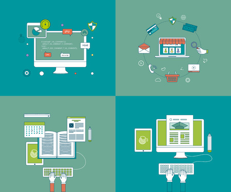 online education: Flat design modern vector illustration icons set of online education and e-learning. Mobile marketing and online store concept flat icons. Pay per click.  Icons for programming, workflow.