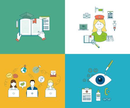 optimization: Flat design modern vector illustration icons set of online education, online courses, online communication, social media, online shopping and mobile marketing.  Healthcare system concept.