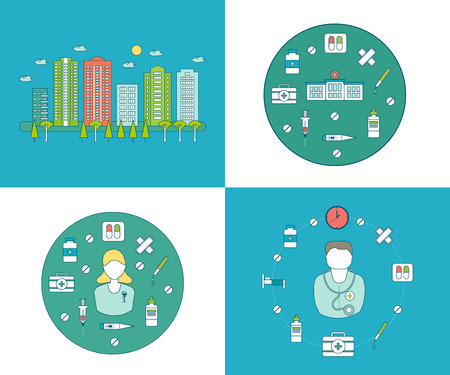 diagnosis: Flat design modern vector illustration concept for health care and pharmacy, urban landscape and city life.  Healthcare system concept. Building icon. Nurse and medical tools icons
