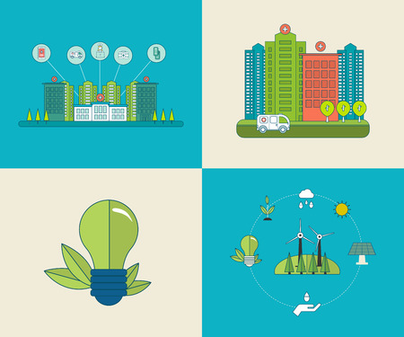 energy center: Flat design modern vector illustration concept for healthcare, medical center and hospital building, ecology, environment and eco-friendly energy. Thin line icons.
