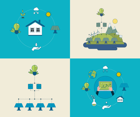 electrical energy: Flat design vector concept illustration with icons of ecology, environment and eco friendly energy. Concept of running a clean house and green energy. Thin line icons.