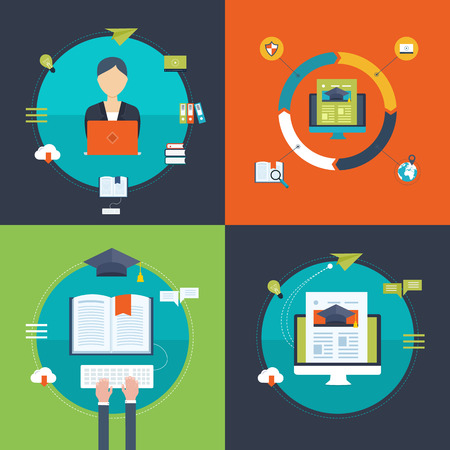 strategies: Flat design modern vector illustration icons set of strategy for successful business, online education and e-learning. Online course from universities and colleges proposes video-on-demand, forum. Illustration