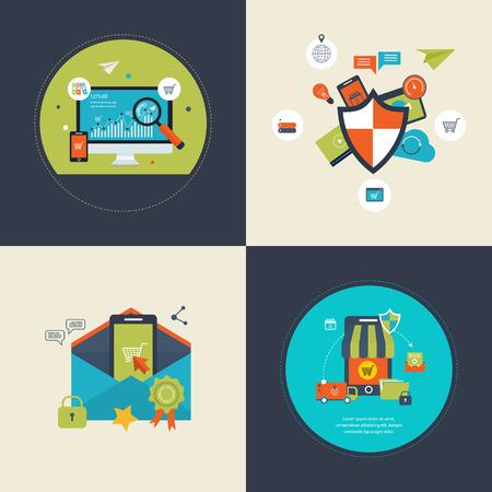 proteccion: Piso de diseño de vectores moderna ilustración iconos conjunto de la analítica buscar información, SEO y marketing móvil, social seguridad de red, protección de datos, marketing móvil y compras en línea.