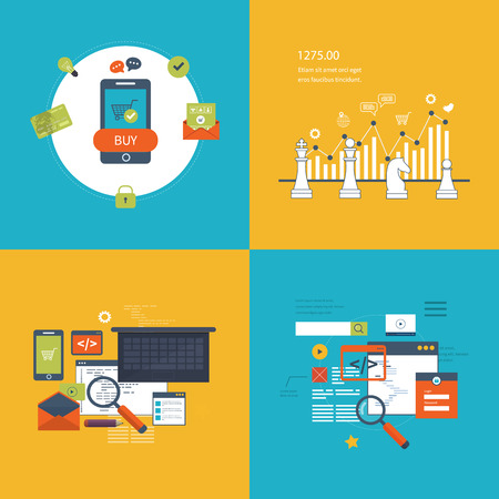 secure shopping: Set of flat design vector illustration concepts for SEO, data analysis, strategy planning and successful business, mobile marketing and security online shopping. Programming and coding. Mobile app. Illustration