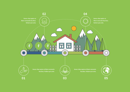 green building: Ecology illustration infographic elements flat design. Eco life. Concept of green building and eco friendly. Thin line icons Illustration
