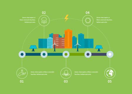 ecosistema: Ecología ilustración elementos infográficos diseño plana. Paisaje de la ciudad. Piso de diseño vectorial Ilustración del concepto con los iconos de la ecología, ambiente, eco energía respetuosa y tecnología verde. Vectores