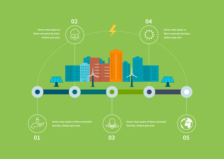digital illustration: Ecology illustration infographic elements flat design. City landscape. Flat design vector concept illustration with icons of ecology, environment, eco friendly energy and green technology.