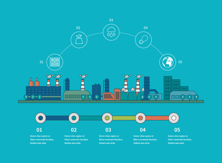town: Flat design vector concept illustration infographic elements with icons of urban landscape and industrial factory buildings. Thin line icons.