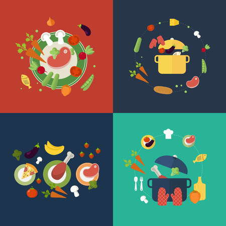 vegetarians: Set of flat design concept icons for food and restaurant. Icons for cooking, fruits and vegetables, vegetarian food.