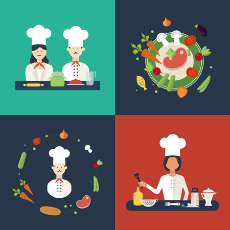 Flat design concept icons of kitchen utensils with a chefs. Cooking tools and kitchenware equipment, serve meals and food preparation elements. Icons for cooking and vegetarian food.