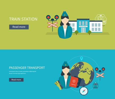 railway station: Railway station concept. Passenger transport concept. Train on railway. Flat icons vector illustration. Illustration