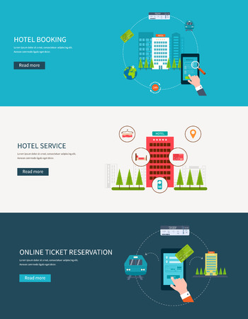 Railway station concept. Train on railway. Online ticket reservation. Hotel booking. Flat design modern vector illustration icons set of urban landscape and hotel service.