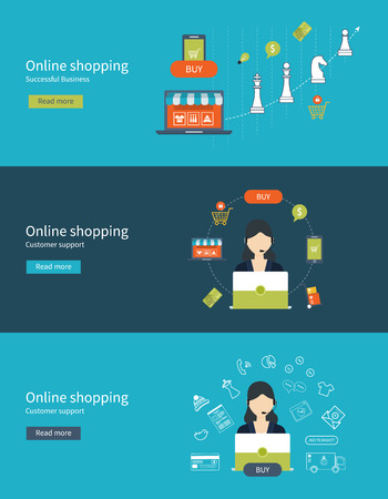 gamme de produit: Mobile marketing and online store concept flat icons. Full circle of online-shopping with mail menu of wide range products, product research, basket, pay per click, call center, customer support, delivery. Illustration