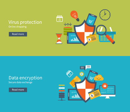 encryption: Set of flat design vector illustration concepts for data protection and internet security. Data protection set with encryption secure data exchange. Concepts for web banners and printed materials. Illustration
