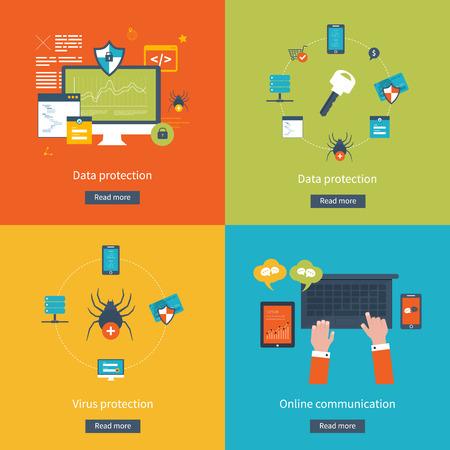 seguridad social: Conjunto de diseño de planos ilustración vectorial conceptos de protección de datos, protección contra virus, trabajo seguro, seguridad de Internet y la comunicación en línea. Conceptos para web banners y materiales impresos. Vectores