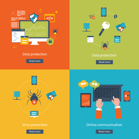 Set of flat design vector illustration concepts for data protection,  virus protection, safe work, internet security and online communication. Concepts for web banners and printed materials.