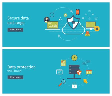Conjunto de diseño de planos ilustración vectorial conceptos de protección de datos, encriptación de datos y el intercambio de datos seguro. Conceptos para web banners y materiales impresos.