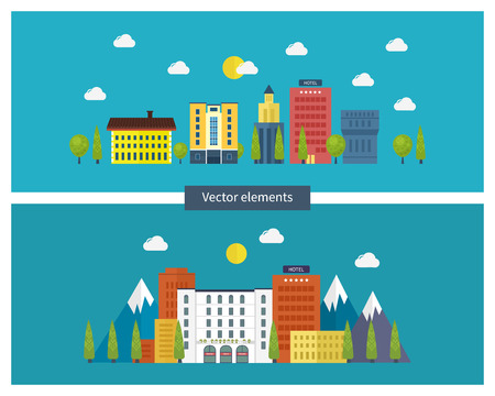 urban building: Flat design modern vector illustration icons set of urban landscape and city life. Building icon